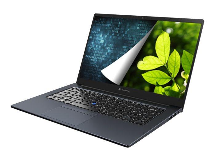 Notebook mit einem Blau-Grünen Bild auf dem Display