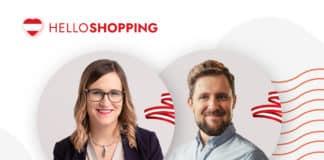 Links oben ist das helloShopping-Logo zu sehen. Weiters ist ein Bild von einer Frau und einem Herren zu sehen.